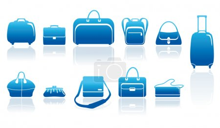 Illustration for Set simple blue icons of bags and handbags - Royalty Free Image