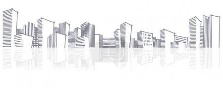 Photo pour Dessin de la ville abstraite skyline - image libre de droit