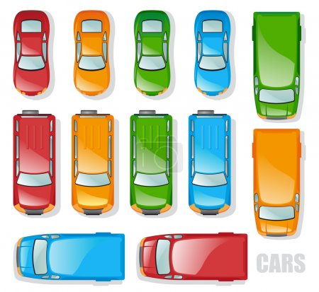 Illustration for Cars and minibuses - the top view - Royalty Free Image
