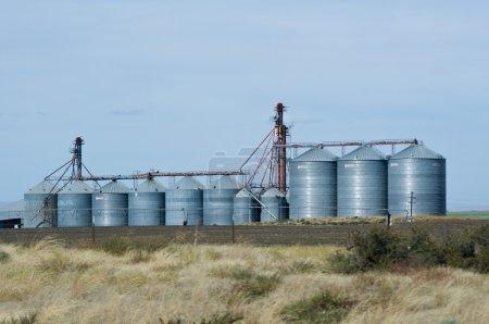 Photo pour Silos à grains en acier et ascenseurs avec champ récolté - image libre de droit