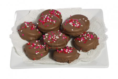 Plate of ten chocolate cookies with hearts