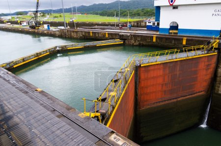 Gates at Gatun locks Panama Canal