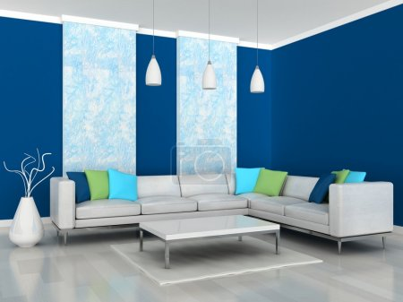 Interior of the modern room, blue wall and white sofa