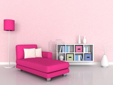Photo pour Intérieur de la chambre moderne, mur rose et canapé rose - image libre de droit