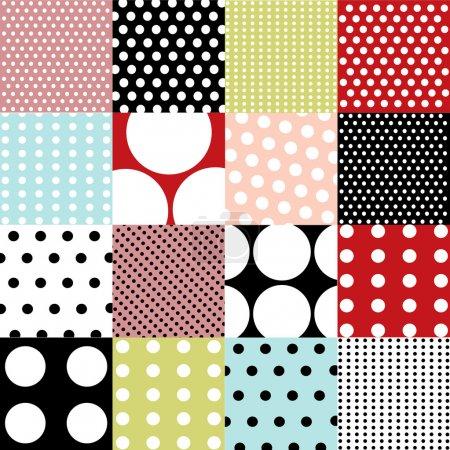 Illustration for Seamless patterns, polka dot set - Royalty Free Image