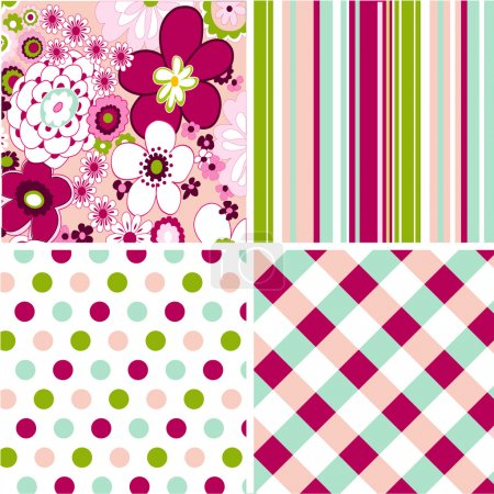 Illustration for Seamless patterns with fabric texture - Royalty Free Image