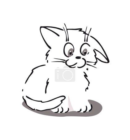 Cute little cat cartoon. Line art.