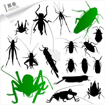 Illustration pour Silhouettes vectorielles d'insectes - image libre de droit