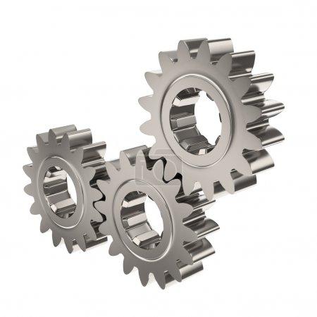 Three Nickel Gears Meshing Together