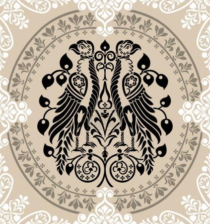 Heraldic Eagles decorated with floral ornaments