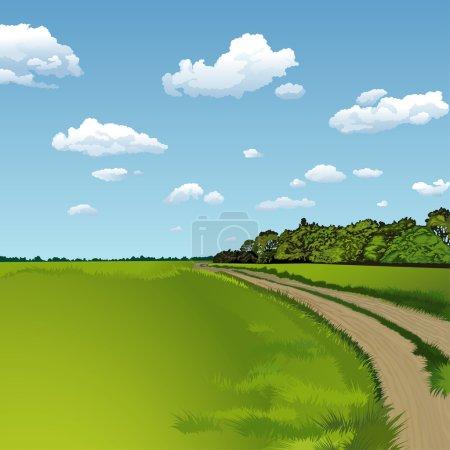 Illustration for Countryside Road, Rural Scene, editable vector illustration - EPS8 - Royalty Free Image