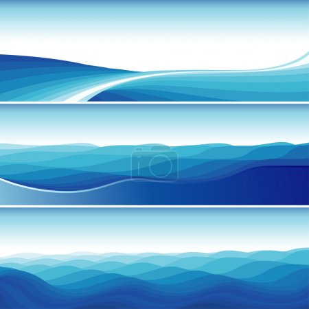 Illustration for Set Of Blue Abstract Wave Backgrounds, editable vector illustration - EPS8 - Royalty Free Image