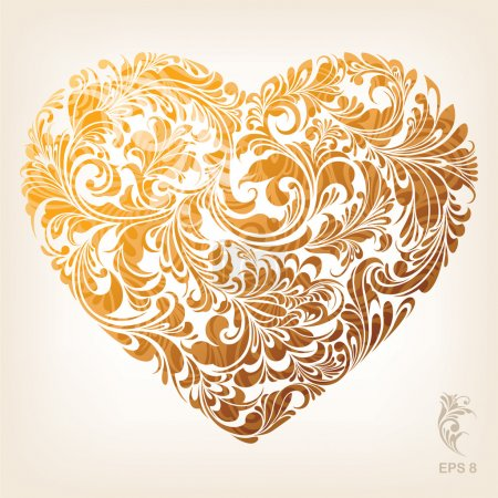 Illustration for Floral Ornament Heart Pattern, editable vector illustration - EPS8 - Royalty Free Image