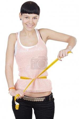 Girl taking measurements