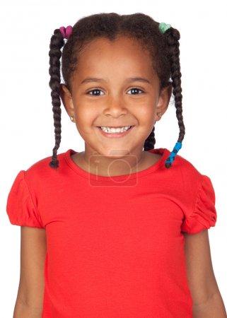 Photo pour Adorable petite fille africaine isolée sur blanc - image libre de droit