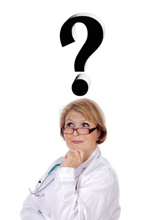 Woman doctor thinking of diagnosis