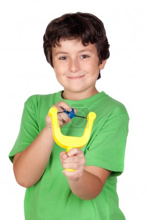 Photo for Adorable child with a slingshot isolated on white background - Royalty Free Image