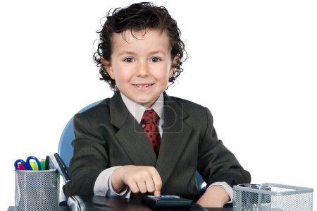 Photo pour Futur homme d'affaires dans son bureau sur fond blanc - image libre de droit