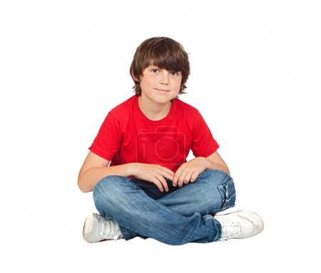 Photo for Adorable child sitting on the floor isolated on white background - Royalty Free Image