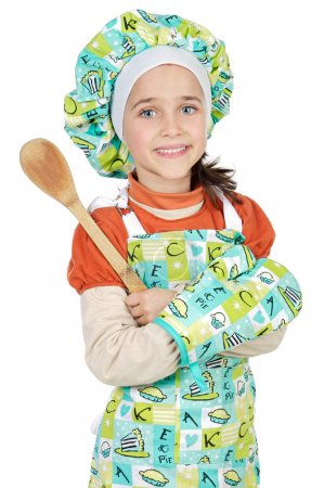 Photo for Adorable future cook a over white background - Royalty Free Image