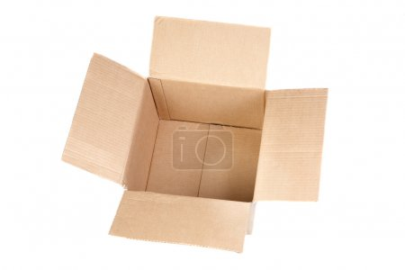 Photo for Empty cardboard boxes with lids open isolated on white background - Royalty Free Image