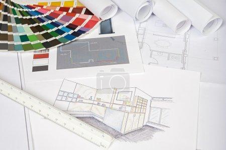 Photo pour Photo de bleu imprime les plans de la maison - image libre de droit