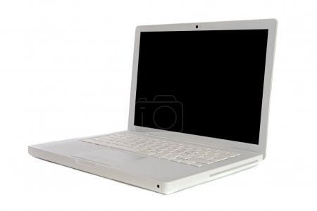 Photo for Laptop computer sideways a over white background - Royalty Free Image