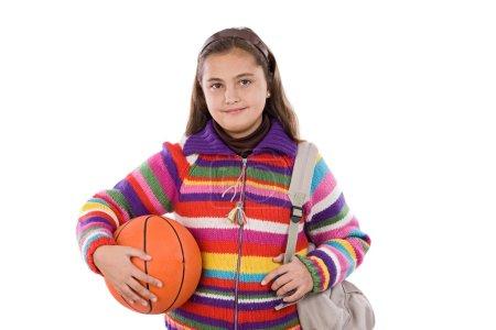 Foto de Chica adorable estudiante de baloncesto en un fondo blanco - Imagen libre de derechos
