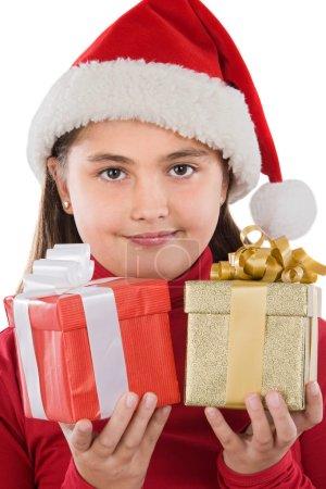 Photo pour Belle fille avec deux cadeaux de Noël sur un fond blanc - image libre de droit