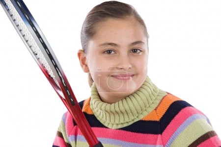 Adorable student girl with racket of tennis