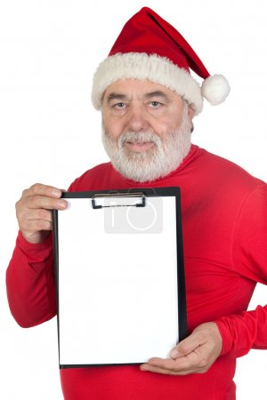 Santa Claus with blank clipboard