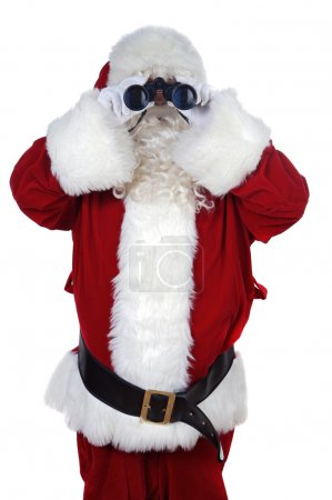 Photo for Santa Claus with binoculars over white background - Royalty Free Image
