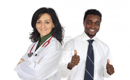 Attractive african businessman and pretty doctor girl