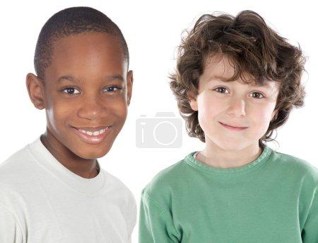 Foto de Children friends - a over white background - - Imagen libre de derechos