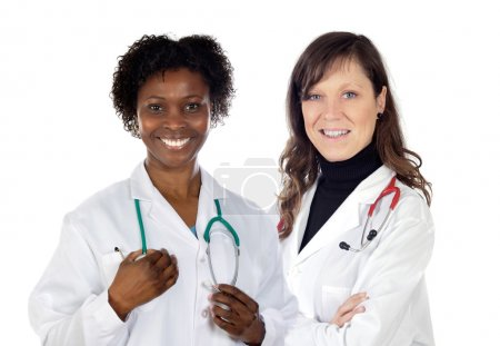 Photo pour Couple de médecins femme sur fond blanc - image libre de droit