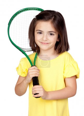 Brunette little girl with a tennis racket