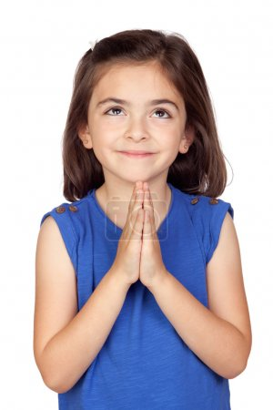 Photo for Angelic little girl isolated on a over white background - Royalty Free Image