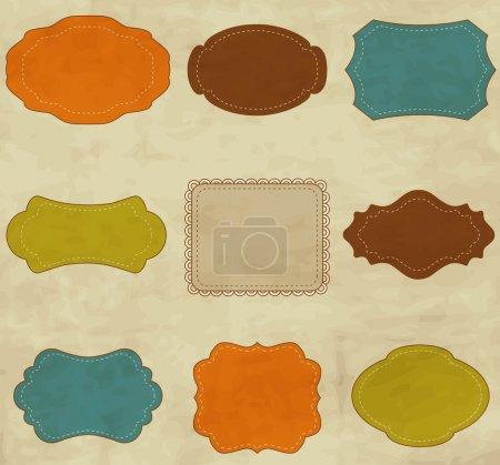 Ilustración de Vector conjunto de coloridos cuadros vintage - Imagen libre de derechos