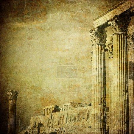 Photo for Vintage image of greek columns, Acropolis, Athens, Greece - Royalty Free Image