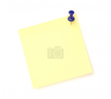 Yellow note over white background