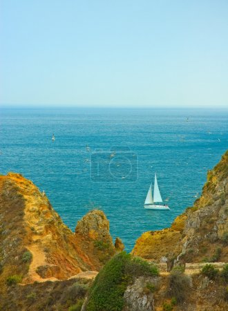 Photo for Yacht sailing in portuguese waters - Royalty Free Image