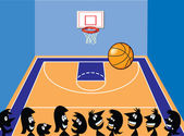 Basketball Court and Cartoon Characters
