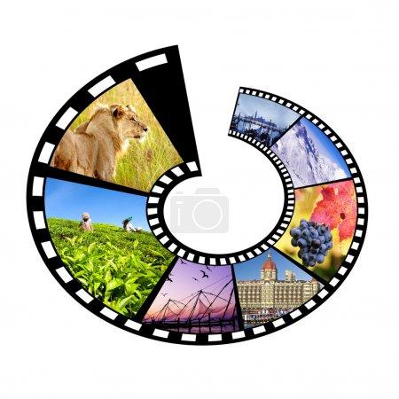 Photo pour Bande de film avec plusieurs destinations de voyage.Isolé sur Blanc . - image libre de droit