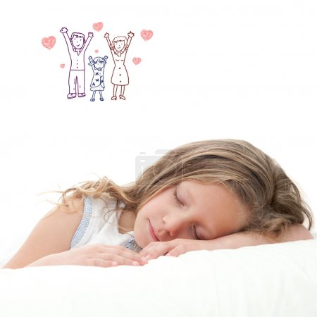 Photo for High key concept portrait of sweet little girl dreaming. Isolated on white background. - Royalty Free Image