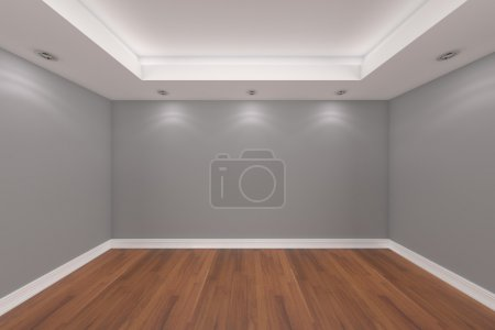 Home interior rendering with empty room gray wall ...