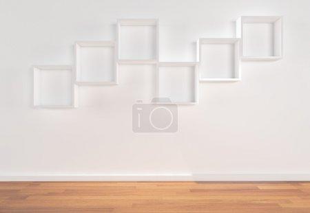 Box Shelves on white wall