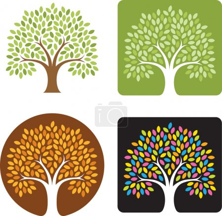 Illustration for Stylized illustration of a tree in four color combinations, spring, summer, fall, and candy colored extravaganza! Great for logos. - Royalty Free Image