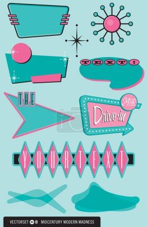 Set of 10 Midcentury Modern Design Elements