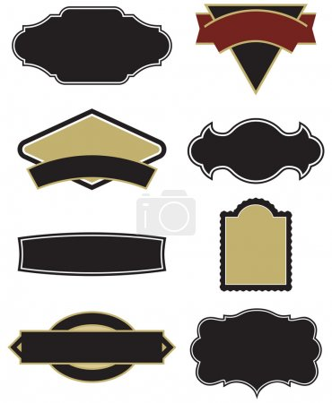 Illustration for A wide selection of vector elements for logos, labels, menus, and more! Need a quick logo? Just drop your text into one of these babies and you're off to the races! Easy to edit shapes and colors. - Royalty Free Image