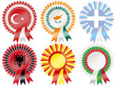 Rosettes to represent Southern European countries including Greece Turkey Cyprus Bulgaria Albania and Macedonia